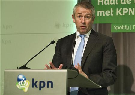 File photo of KPN's Chief Executive Officer Eelco Blok speaking during the presentation of the 2011 fourth quarter and annual results in The Hague January 24, 2012