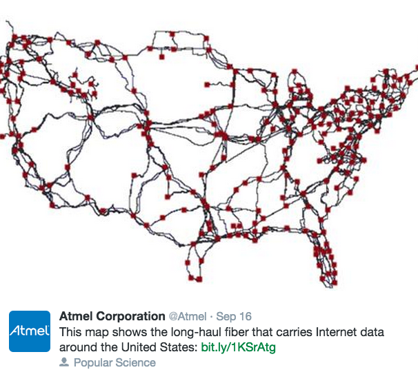 Map of the Long Haul Fiber Optical Cable Links in the USA Updated